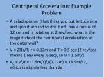 centripetal acceleration example problem