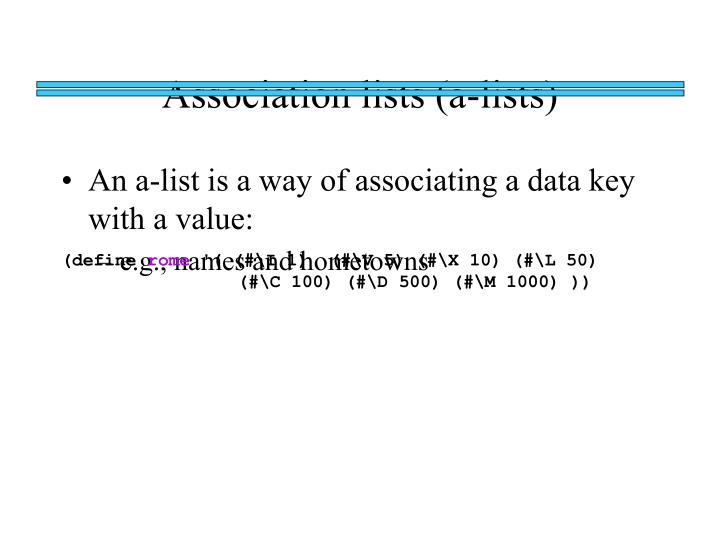Association lists (a-lists)
