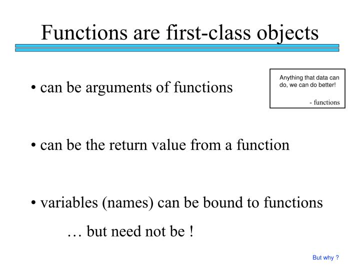 Functions are first-class objects
