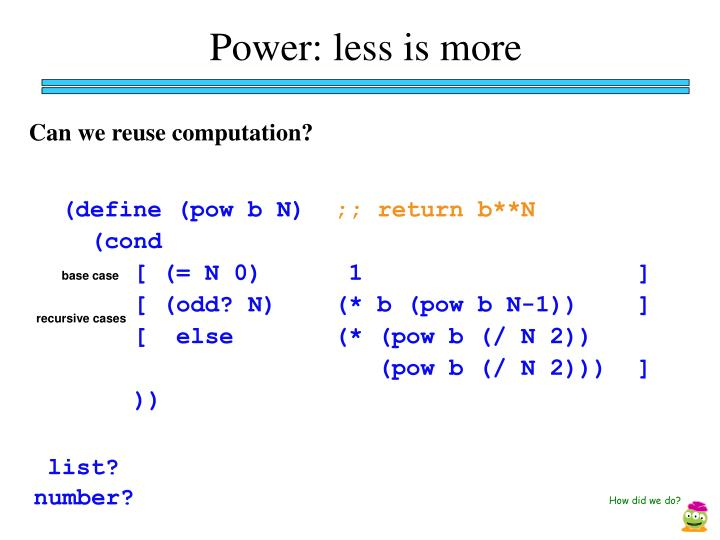 Power: less is more
