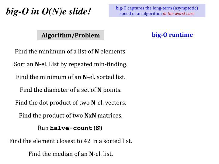 big-O in O(N)e slide!