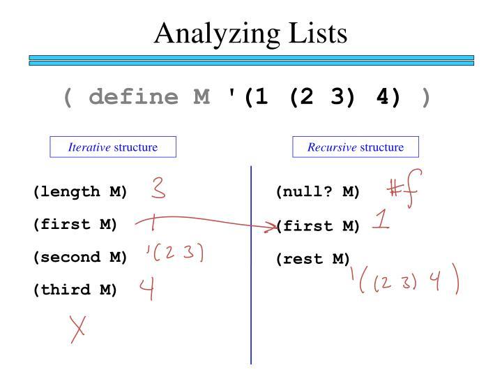 Analyzing Lists