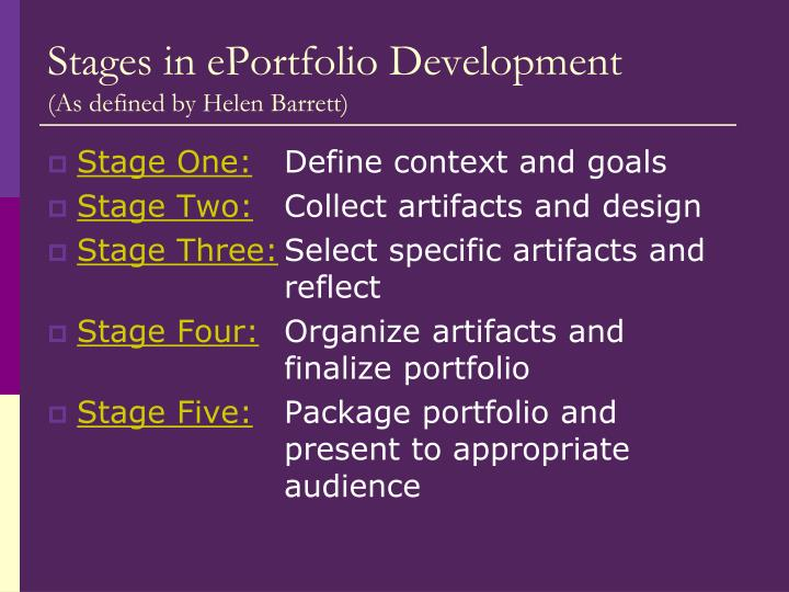 Stages in ePortfolio Development