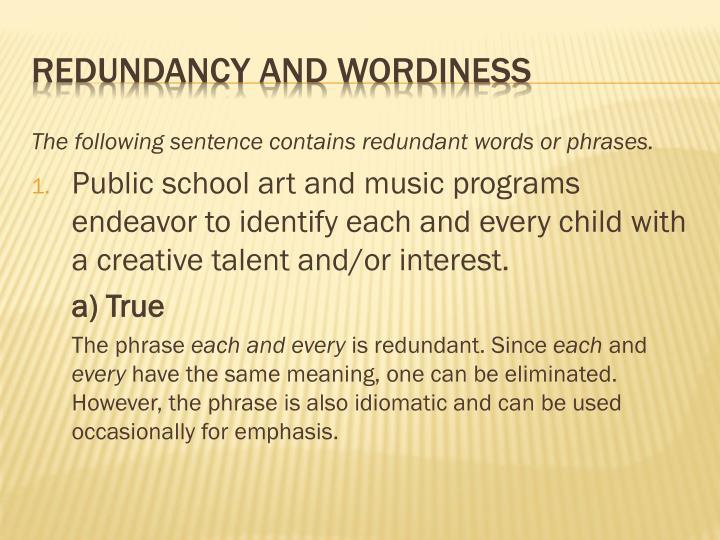 Redundancy and wordiness