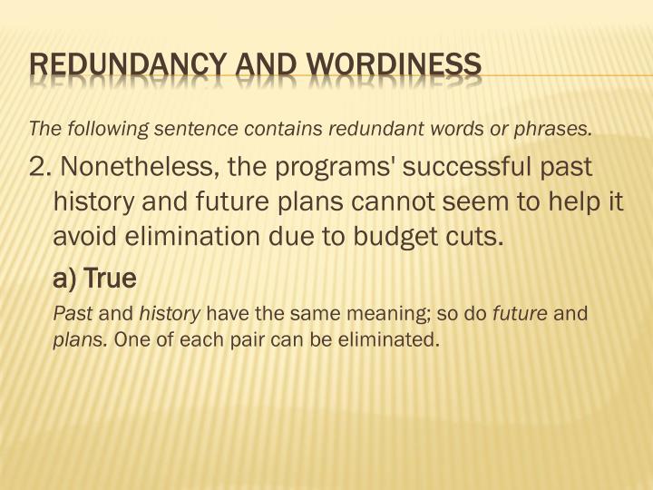 Redundancy and wordiness1