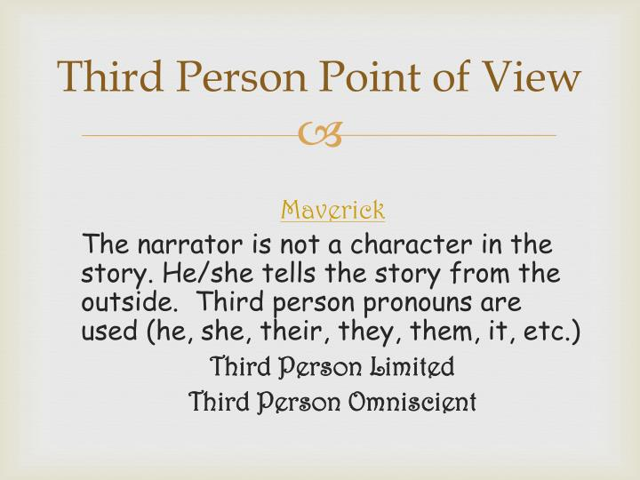 third person point of view thesis 1 how to avoid using first person point of view in academic writing first, second and third person point of view first person is often used in personal narrative – when the writer is telling a story or.