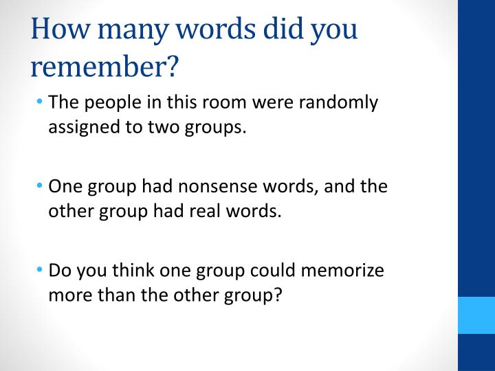 How many words did you remember?