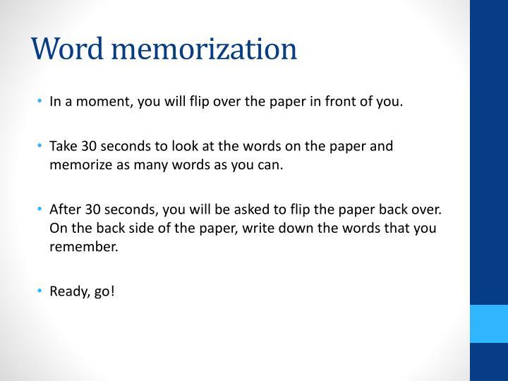 Word memorization
