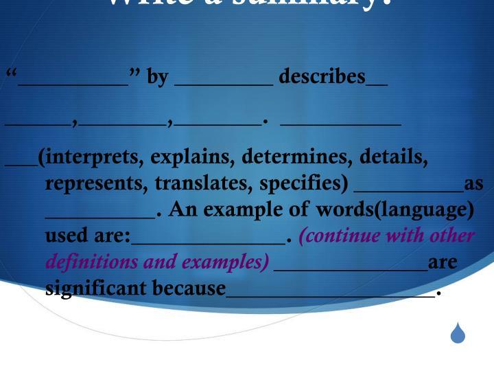 Write a summary: