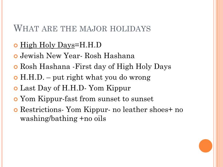What are the major holidays