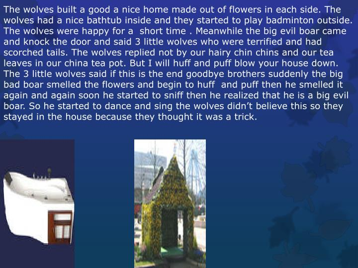 The wolves built a good a nice home made out of flowers in each side. The wolves had a nice bathtub inside and they started to play badminton outside. The wolves were happy for a  short time . Meanwhile the big evil boar came and knock the door and said 3 little wolves who were terrified and had scorched tails. The wolves replied not by our hairy chin chins and our tea leaves in our china tea pot. But I will huff and puff blow your house down. The 3 little wolves said if this is the end goodbye brothers suddenly the big bad boar smelled the flowers and begin to huff  and puff then he smelled it again and again soon he started to sniff then he realized that he is a big evil boar. So he started to dance and sing the wolves didn't believe this so they stayed in the house because they thought it was a trick