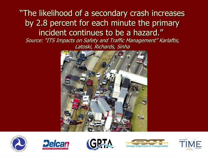 """The likelihood of a secondary crash increases by 2.8 percent for each minute the primary incident continues to be a hazard."""
