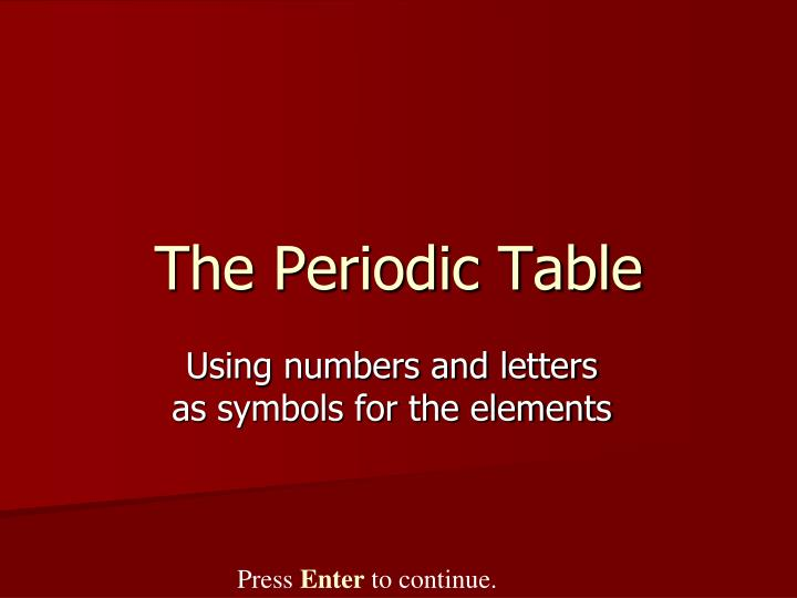 the periodic table n.