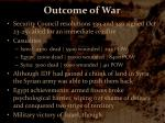 outcome of war