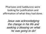 pharisees and sadducess were looking for justification and affirmation of what they had done