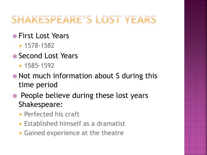 Shakespeare's lost years