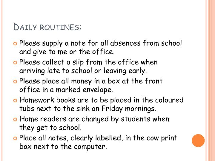 Daily routines: