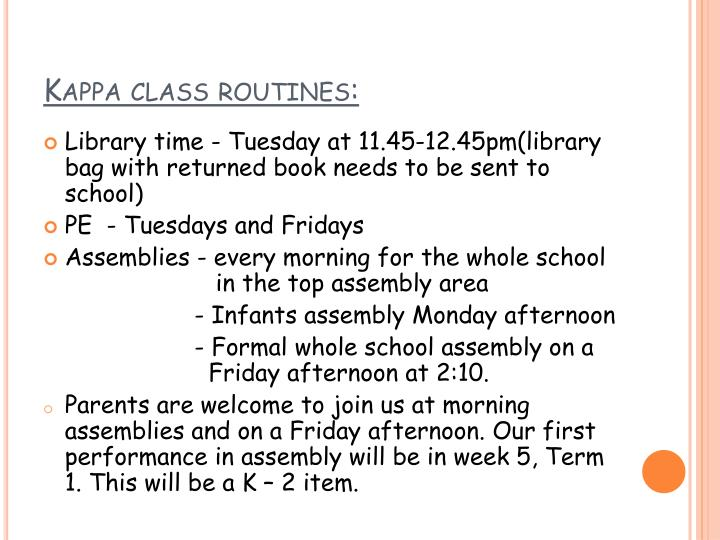 Kappa class routines: