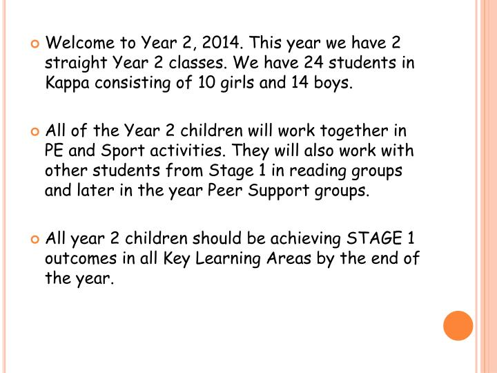 Welcome to Year 2, 2014. This year we have 2 straight Year 2 classes. We have 24 students in Kappa