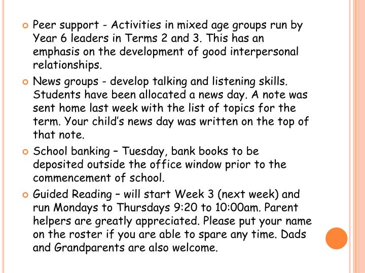 Peer support - Activities in mixed age groups