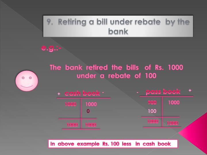 9.  Retiring a bill under rebate  by the bank