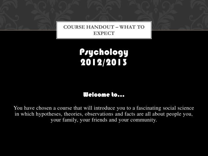 Course handout what to expect