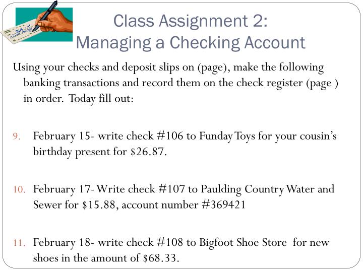 Class assignment 2 managing a checking account