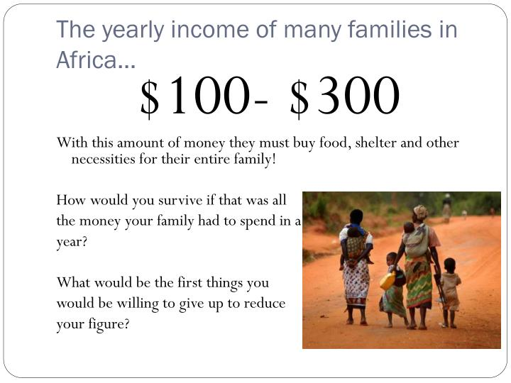 The yearly income of many families in Africa…