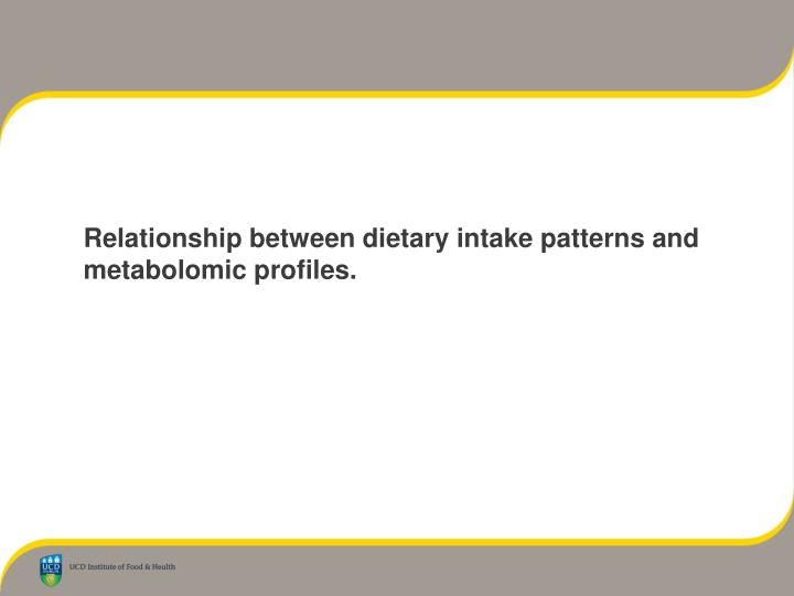 Relationship between dietary intake patterns and