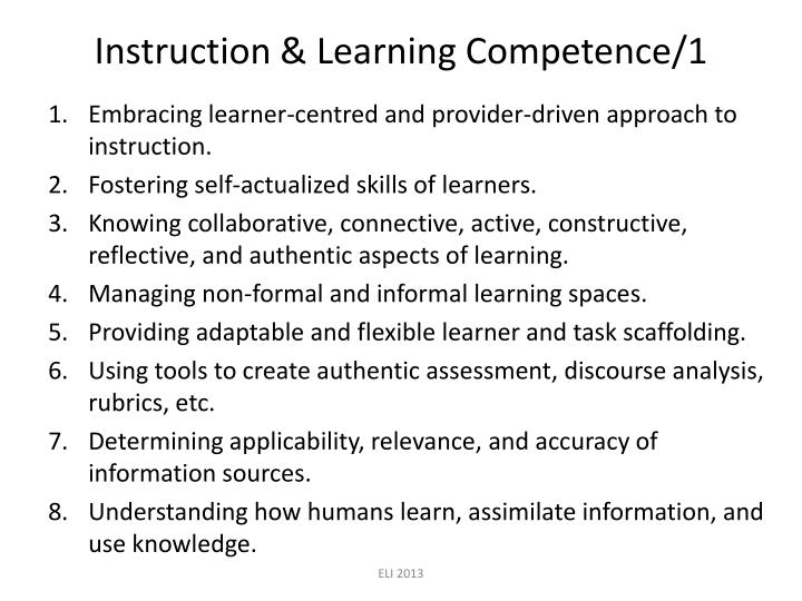 Instruction & Learning Competence/1