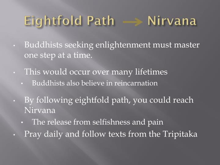 the eightfold path in achieving nirvana 8 rights: the noble eightfold path — the heart of the buddha's teaching.