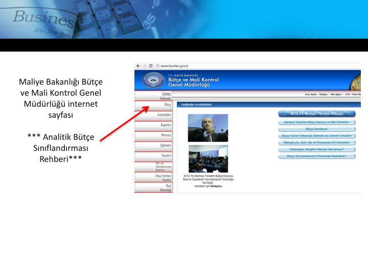 Maliye Bakanlığı Bütçe ve Mali Kontrol Genel Müdürlüğü internet sayfası