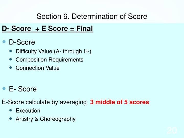 Section 6. Determination of Score
