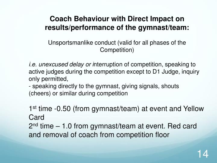 Coach Behaviour with Direct Impact on
