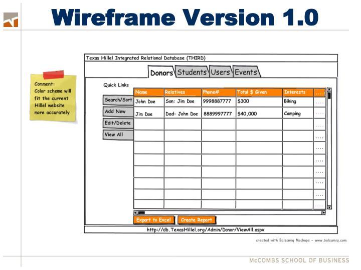 Wireframe Version 1.0