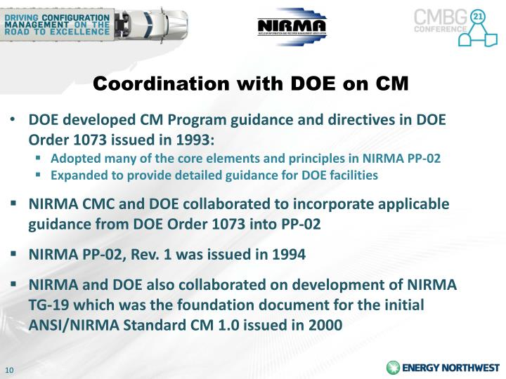 Coordination with DOE on CM