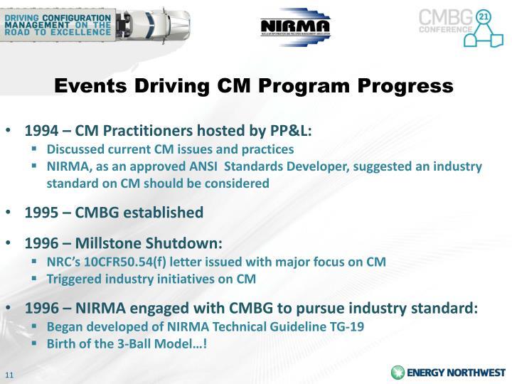 Events Driving CM Program Progress