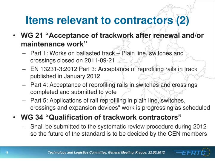 Items relevant to contractors
