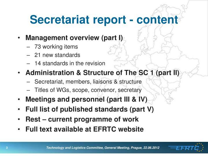 Secretariat report content