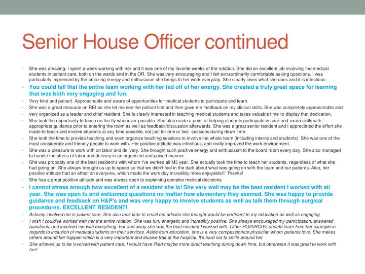 Senior House Officer continued