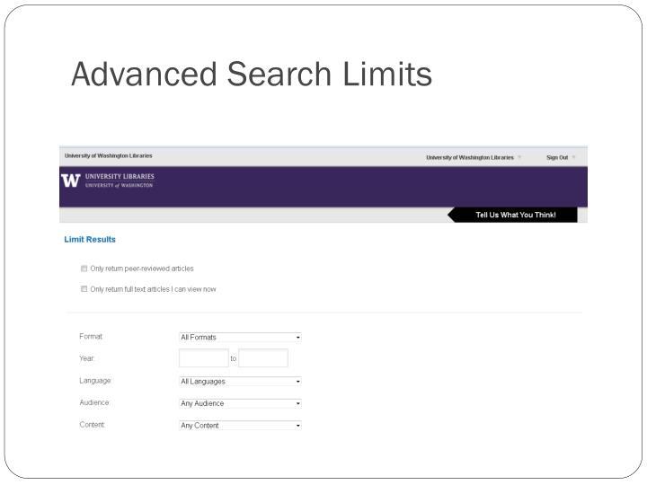 Advanced Search Limits