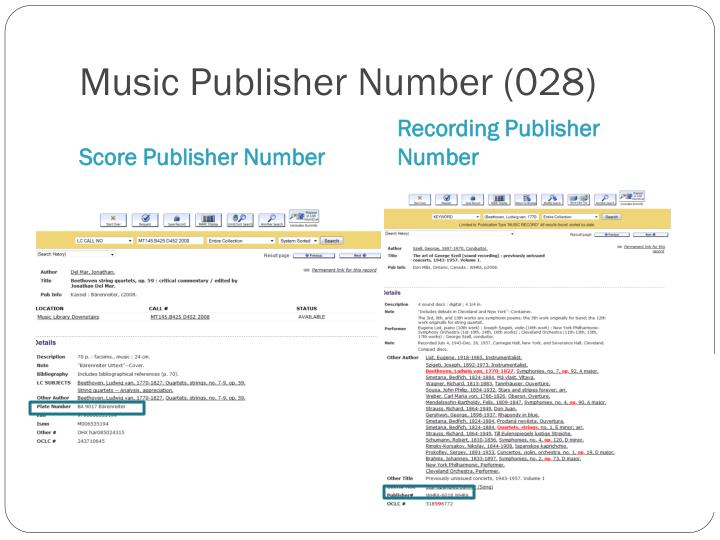 Music Publisher Number (028)