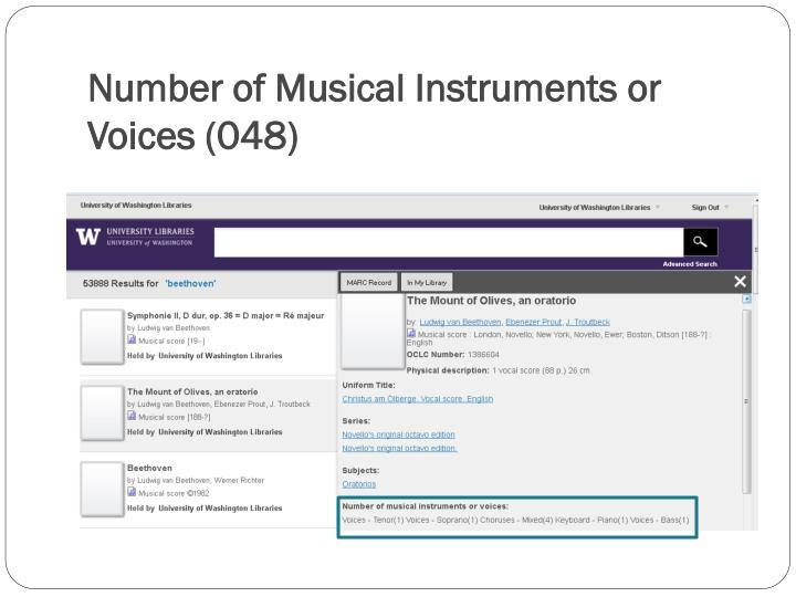 Number of Musical Instruments or Voices (048)