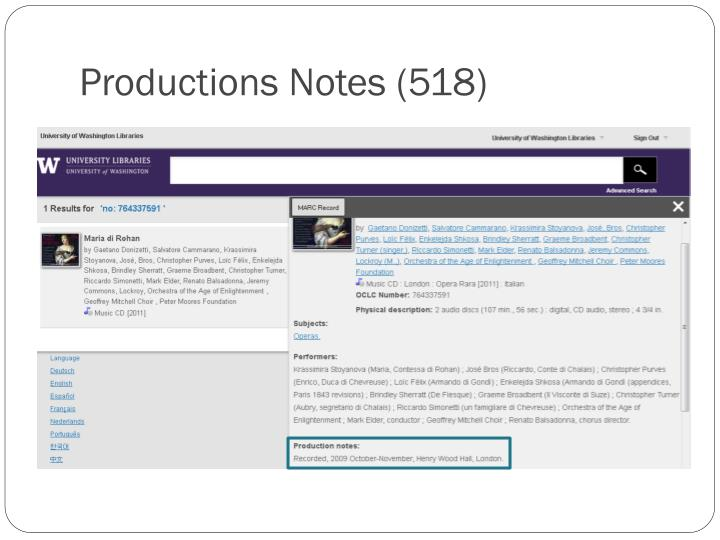 Productions Notes (518)