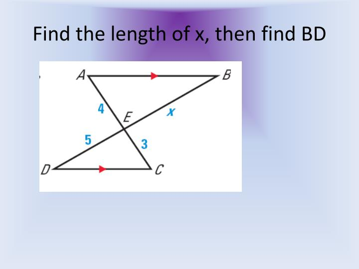 Find the length of x, then find BD