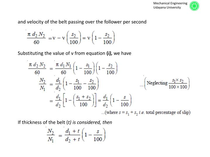 and velocity of the belt passing over the follower per second