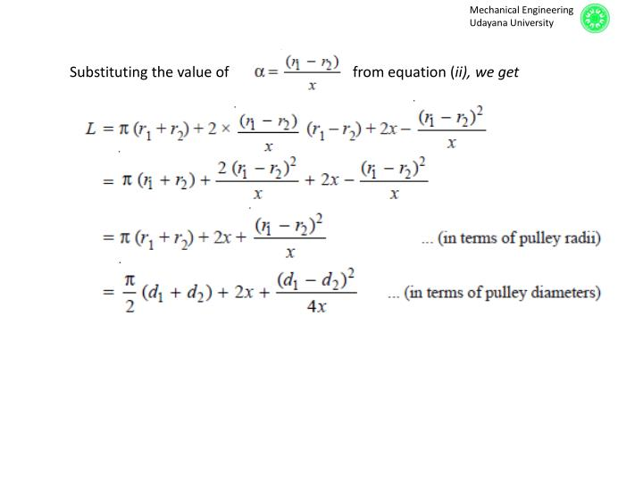 Substituting the value of        from equation (