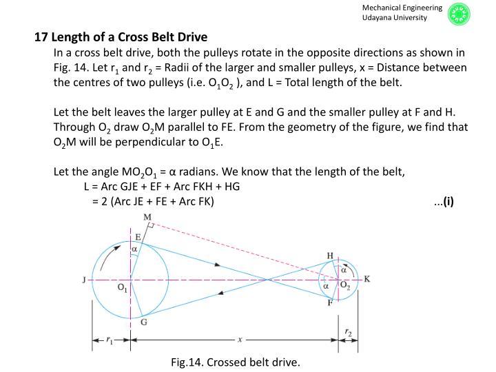 17 Length of a Cross Belt Drive