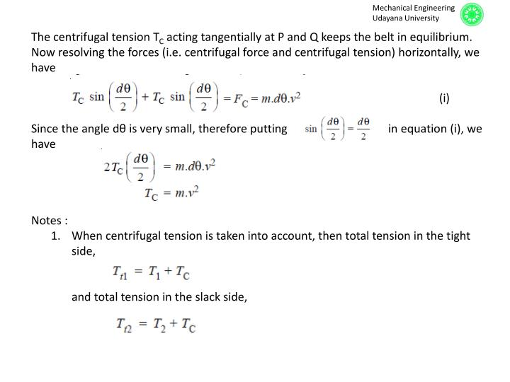 The centrifugal tension T