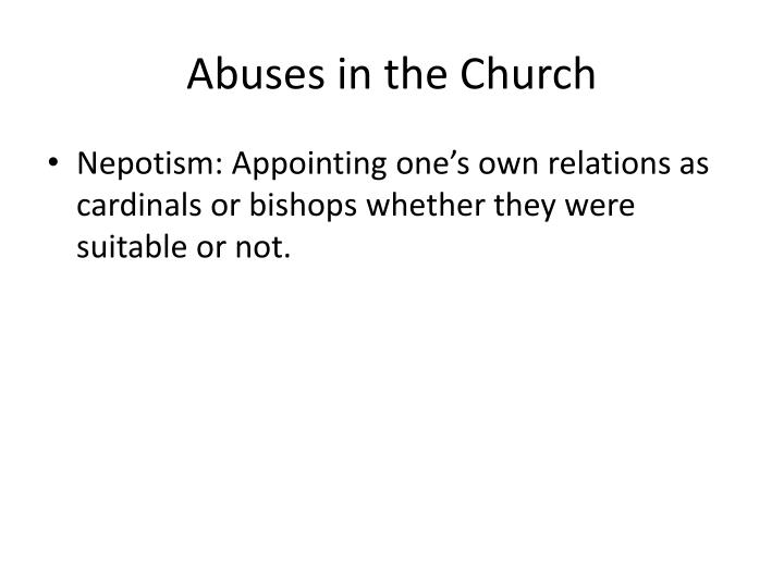 Abuses in the church